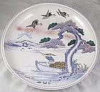 "18"" Imari Charger Taisho Period Fuji And Figural Design"