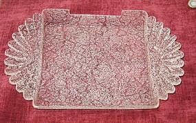 Overshot Art Glass Tray French(?)