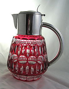 Cranberry Pitcher Cased Cut Glass Silver Mounts