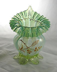 Opalescent Vaseline Jack-in-pulpit Vase Art Glass