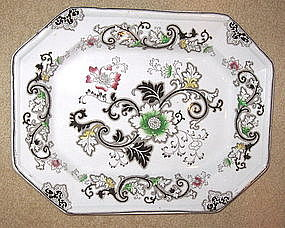 """Aurora Brown Transferware Platter 15"""""""