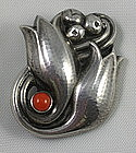 Georg Jensen #100 C Tulip Sterling With Coral Pin