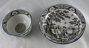 Salopian Pearlware Tea Bowl And Saucer Ca. 1800