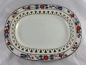 Pearlware Reticulated Chinoiserie Tray Ca. 1820