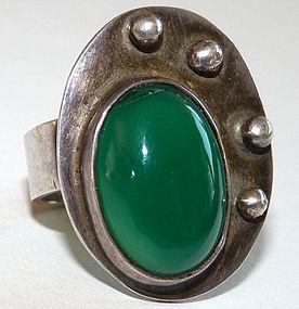 Modernist Palette Motif Chrysoprase Studio Ring