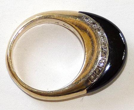 Signed Art Deco 14K Pave Diamond Onyx Ring