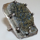 Outrageous Huge Vintage Taxco Sterling Druzy Ring
