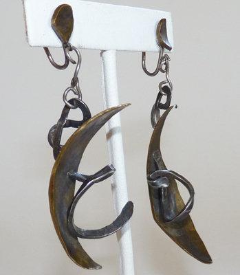 1950s Modernist Bronze & Sterling Artisan Earrings