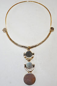 Jacob Hull Denmark Gold Gilt Modernist Necklace