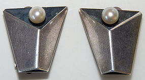 1950s Modernist Esther Lewittes Pearl Sterling Earrings