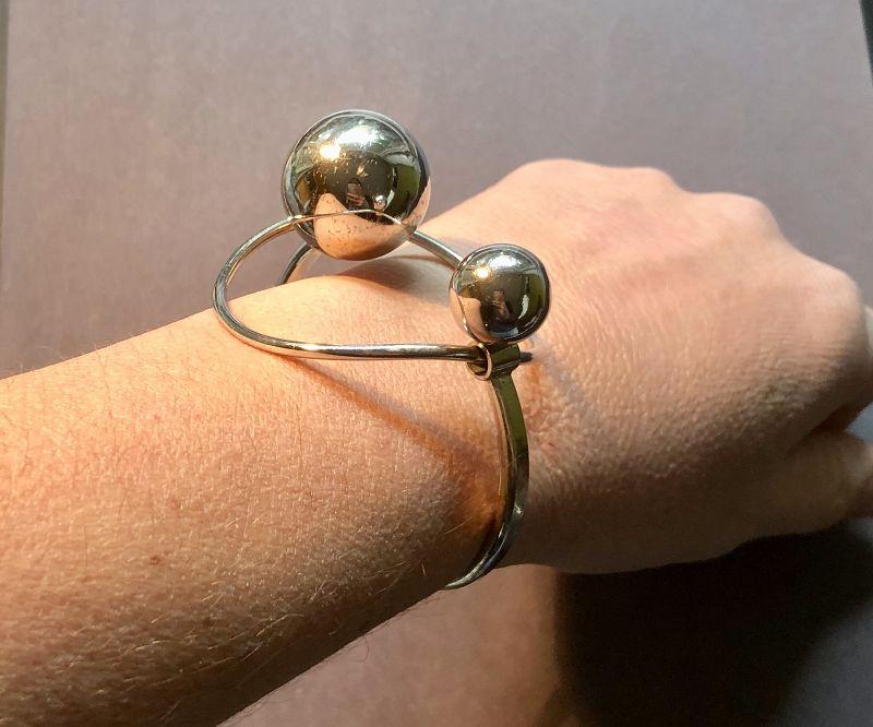 UNO A ERRE Italy Orbital Modernist Sterling Bracelet