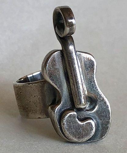 Unique Sam Kramer Sterling Violin Ring