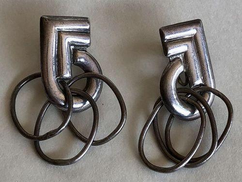 William Spratling Modernist Kinetic Sterling Earrings