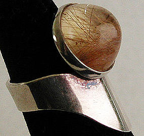 Finnish Rutilated Quartz Sterling Modernist Ring