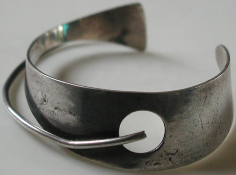 Bill Tendler 1950s Modernist Sterling Cuff Bracelet