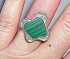 Funky Modernist 14K Gold Diamond & Malachite Ring