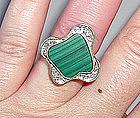 Funky Modernist 14K Gold Diamond & Malachite Ring