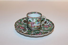 Chinese Rose Medallion Porcelain Cup & Saucer
