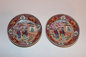 Pair 19th C. Chinese Export Porcelain Saucers