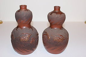 Pair of Chinese Terracotta Gourd Form Urns