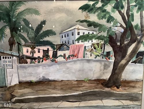 Nassau Bahama watercolor by Norman McLeisch 1890�1975 WPA Artist