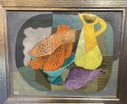 Cubist Still Life by Russian Constructivism Art Fish with Pitcher
