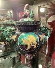 Japanese Rare Edo Period Footed Dragon Hangled Vase Bowl Kutani Ware