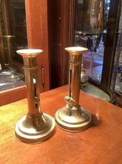 Pair of English Victorian candlesticks push-up brass