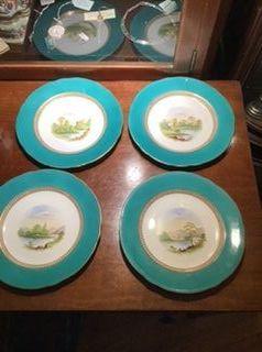 English Desert plates with Italian Scenes Victorian