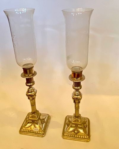 Pair of French 19th Century Silver Plate Candelabras