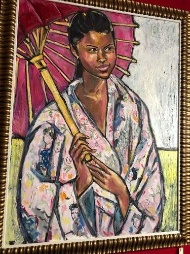 Woman with a Parasol By Anne Lane Oil on Canvas