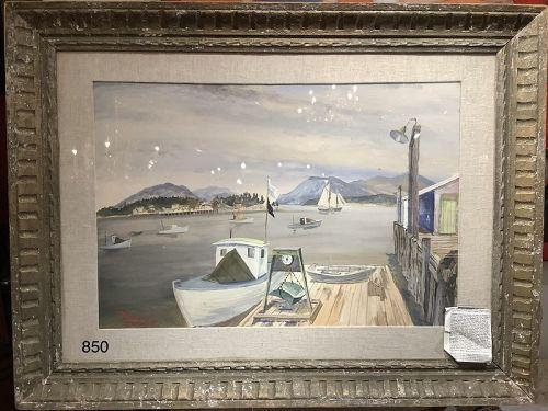 Harbor Scene by Artist Bruce Handiside  Mitchell