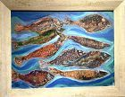 Abstract Fish painting oil on Canvas
