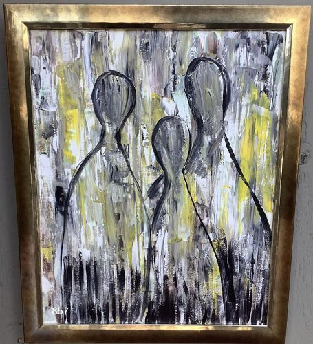 KAMINSKI signed abstract artwork oil on canvas