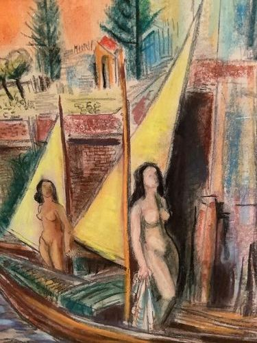 Surrealist Nudes Pastel on paper signed L. L. KOFM
