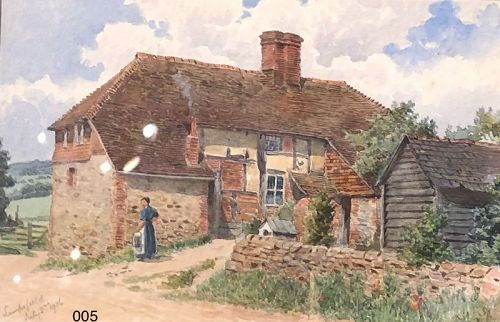 English Cottage Scene signed Lunsford