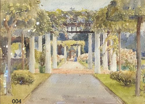 Colonnade Garden Watercolor by artist Florence Robinson