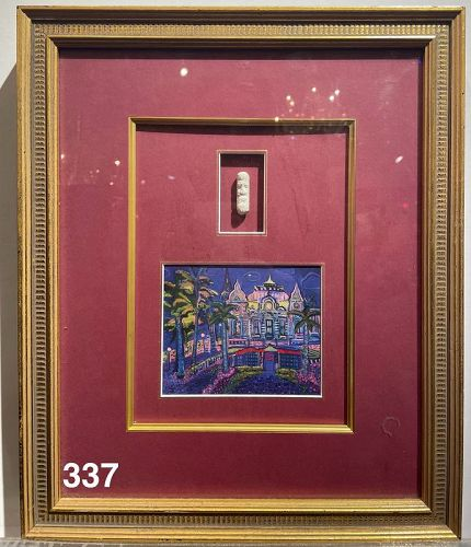 Framed Architecture Painting and Miniature