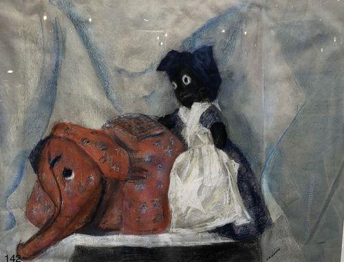 Black Doll with Stuffed Elephant