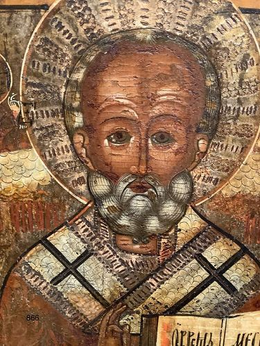 RUSSIAN ST. NICHOLAS,Icon oil on panel