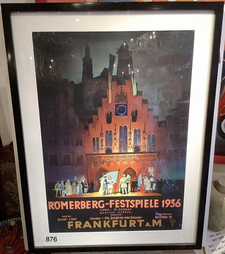 German Festival Poster from 1936 Lithograph