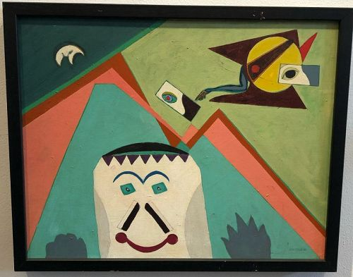 Max Kassler Totems Abstract Oil Painting