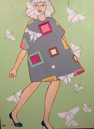 Origami Woman Series, oil on canvas