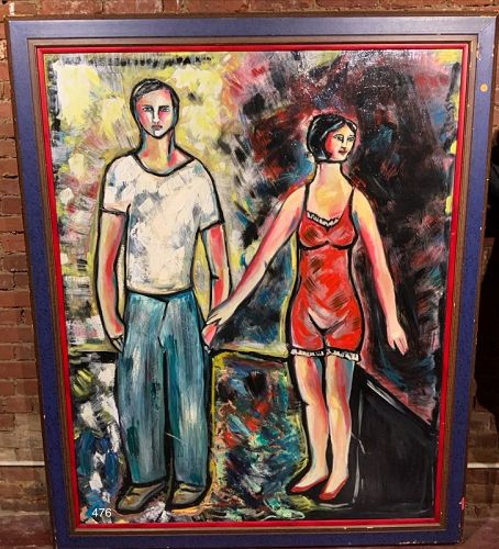 Naive Painting Couple Holding Hands by Anne Lane