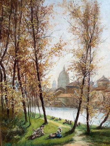 Springtime on the Tiber with the Vatican Dome in the Distance