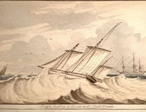922 unsigned Rigged ships �Luger� c1800 w/c 4x7,Fs 17x20�.