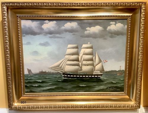 Danish Artist Jorgen Dahl 1825-1890 Rigged Sailing Ship Oil dated 1874