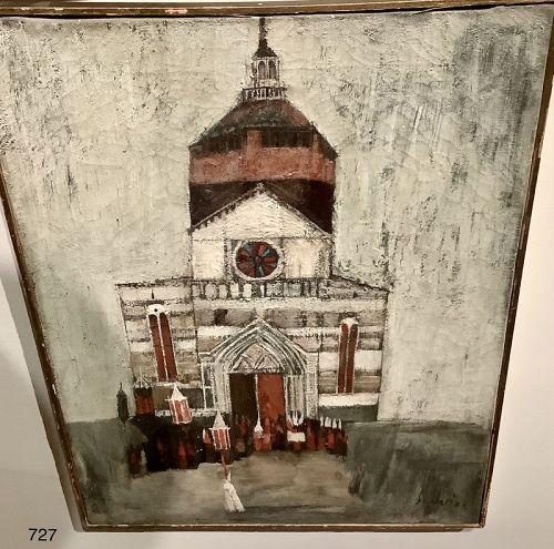 "Nicola Simbari oil on canvas Early monochromatic oil painting  18x14"""