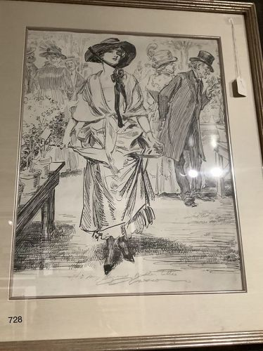 Walter Titlte Gibson Girl large illustration 21� x 15�