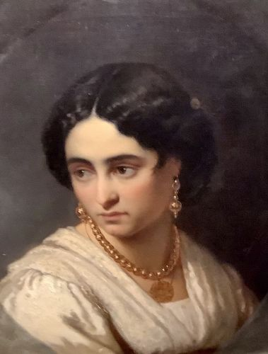 "Italian Aristocrat circa 1880 by Huge Cormens Oil on Canvas 21""x17"""